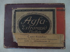 Unopened packaging. Agfa extrarapid platten, 9x12cm glass plates, 12 pieces. 1930s