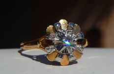 Ring in two-colour 18 kt gold and diamond of 0.10 ct