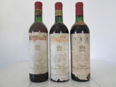 1960, 1963 & 1964 Chateau Mouton Rothschild, Pauillac Grand Cru Classé - 3 bottles (75cl)