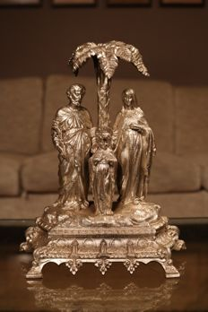 Silver plated religious sculpture group - France - Circa 1920
