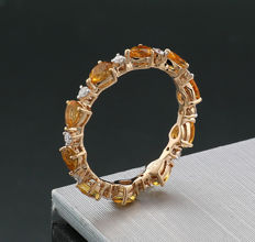 Attractive memory ring with citrines and brilliants, 750 rose gold - no reserve price -