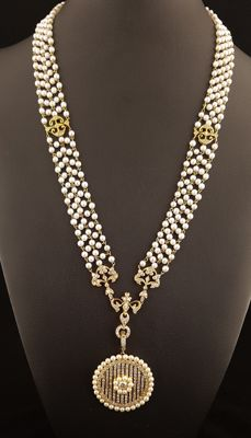 Cartier style period necklace with diamonds and pearls on yellow gold