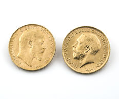 Gran bretaña – Edwards VII y Georgivs V – Two sterling pounds – 1908 and 1925
