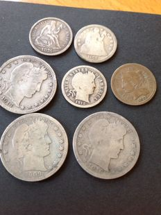 United States - Lot of 7 coins 1842/1916 - Nickel & Silver