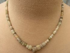Roman Empire- Necklace with transparent iridescent glass beads - 43 cm.