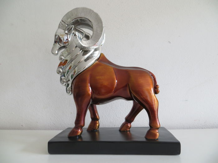 Chrome plated statue of a capricorn, Italy, late 20th century