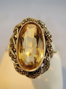 Ring with natural citrine, 8 ct and marcasites