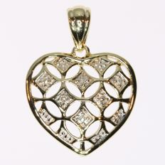 Bicolour gold heart pendant with diamonds - No reserve price