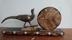 Art Deco Marble clock with a Pheasant