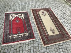 2 Unique Pakistan Rug   165x93cm and 130x80cm  -hand knotted