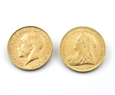 Great Britain – Georgivs V and Victoria – Two sterling pounds – 1923 and 1894