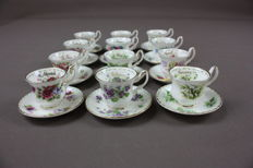 Royal Albert porcelain, 12 cups and saucers, 'Flower of the Month' series, miniature, 1970