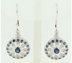 14 kt white gold dangle earrings set with sapphire and 28 single cut diamonds in total approx. 0.15 ct - size: 3.7 cm long x 1.4 cm wide