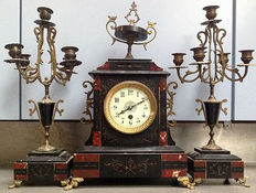 Antique French marble notary clock Napoleon III with two candlesticks, approx. 1890.