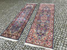 2 LONG IRAN KERMAN RUG 245X77cm  and 250x70cm -hand knotted