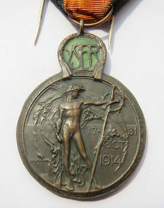 "Yser medal in memory of service of the ""battle of the Yser"" - WW1."