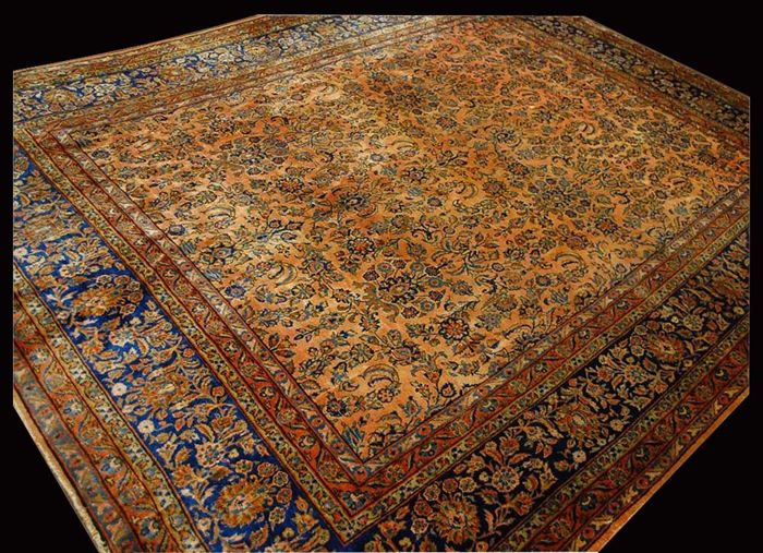 ANTIQUE genuine Persian rug - Original - Hand-knotted - Kashan Manchester, PERSIA / IRAN - (CM) -  Era: 1890-1920 – With certificate of authenticity from an official appraiser (Galleria Farah 1970)
