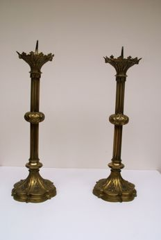 2 antique Gothic church altar candlesticks from the 19th century