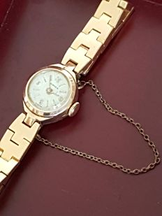 Hermes - elegant gold-plated watch with automatic mechanism - with safety chain