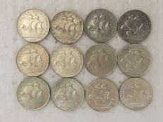 Portuguese Republic – Complete collection – 12 coins – 2$50 – 1932-1951 (includes 1937) – Silver