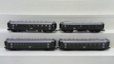 Minitrix N - 15709 - 4-piece set Express train carriages of the Pfalzbahn with lighting