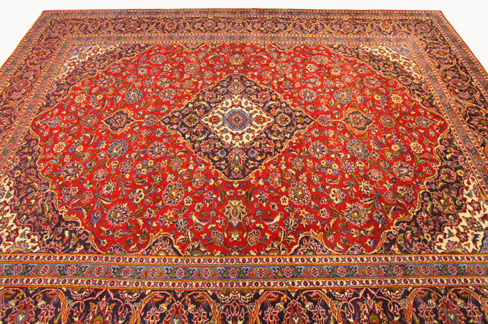 Fine Persian carpet, Kashan, 4.08 x 2.98, red, genuine hand-knotted oriental carpet, top condition, no. 87