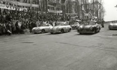 Porsche 356 split screen 1952 Dieburger Dreicks Race black and white photograph.