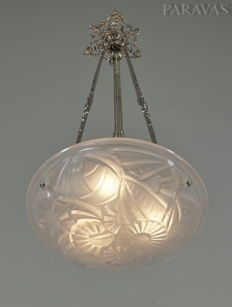 Degué -  French Art Deco chandelier - nickeled solid brass and pressed glass - pendant light