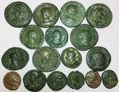Roman Empire - Lot of seventeen (17) Æ unclassified Follis and Quadrans