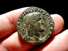 Roman Empire - Maximinus I Thrax (235-238) bronze sestertius (20,09 g., 23 mm.) minted in Rome. 236 A.D. FIDES MILITVM.