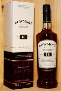 "Bowmore aged 18 years, ""Deep & Complex"", new 18yo bottling from Bowmore,  43%vol. 700ml, Islay Single Malt Scotch Whisky"