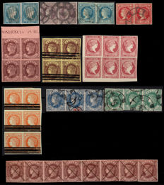 Spain 1856–1865 – Isabel II – lot of pairs and blocks