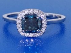 14kt Golden ring with intense fancy blauw color diamond 0.75  ct - size 53 *** No reserveprijs ***