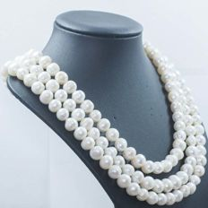 Silver (925/1,000) – Necklace of 3 strands of river-cultured pearls - Length: 45 cm – No reserve