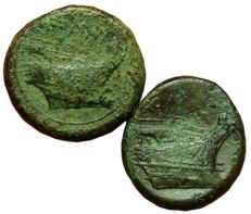 Roman Republic - Lot of two Æ - Anonymous, Semilibral series - Æ Semuncia (21/20mm; 7,37/6,48g.), c. 217-215 BC - Rome mint - Head Mercuty / Prow of galley - Cr. 38/7