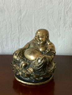 A brass/bronze Hotai laughing Buddha - China - second half 20th century