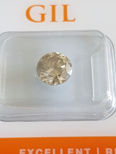 Diamond – 1.70 ct –  Fancy Grayish Yellow SI2 – Round Brilliant – VG/VG/VG