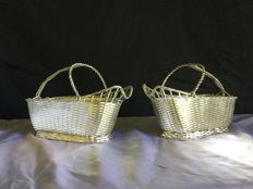 2 wine bottle holder baskets from Christofle, second half of 20th century,France