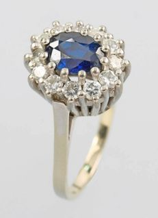 14 kt white gold ring with sapphire 1.2ct and brilliants 1,0ct/vs -  ringsize 60 (20)