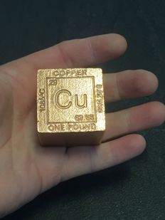 USA - 1 pound - 999 copper cube - with melting point, Atom symbol, atomic number, atomic mass & density