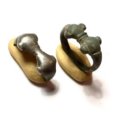 Two Celtic rings - Silver and Bronze (one broken) / 23mm (2)