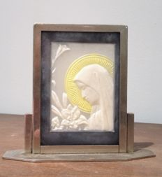 Argy Rousseau - The Virgin with the lily - Rare glass paste icon