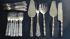23 piece dessert silverware set, grade 800 - probably Italian -second half of 20th century