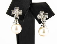 18 kt gold - Earrings - Zirconias - Akoya pearls