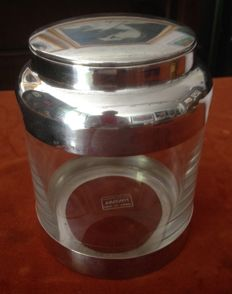 Glass and Silver Cookie Jar