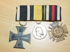 Original medal clasp for 3 medals, Württemberg, World War I