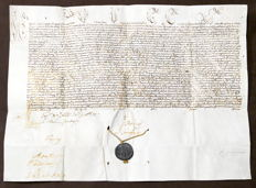 Papal Bull Pope Innocent XII on parchment with lead seal - ca 1694.