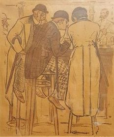 2 prints by Theophile Alexandre Steinlen (1859-1923) - Cafe scenes - circa 1900