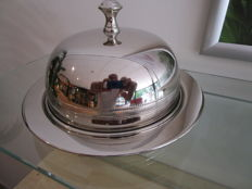 Bell jar with four eggs cups - silver plated