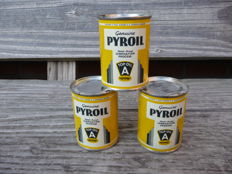 Pyroil, Wisconsin USA - 3 cans heat-proof lubrication oil - New Old Stock - 3 fluid ounces. 1950s